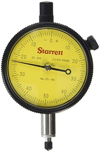 Series 25 Dial Indicator with Jewel Bearing, 0.01mm Graduation Interval, 1.0-2.5mm Range, 0-50-0 Dial Reading, 9.5mm Stem Diameter