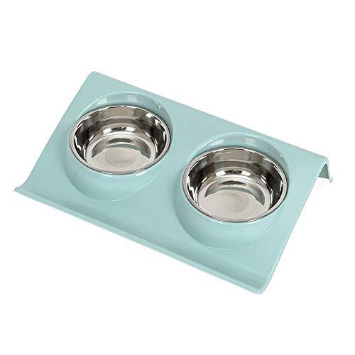 Roestvrij stalen dubbele huisdier kommen voedsel watertoevoer voor hond puppy katten huisdieren benodigdheden voeding Vaatwassers, huisdier kommen Blauw
