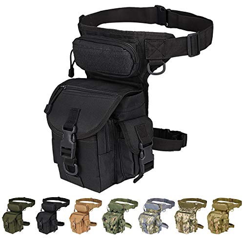 Multi-Purpose Tactical Drop Leg Bag Tool Fanny Thigh Waist Pack Leg Rig Military Motorcycle Camera Versipack Utility Pouch, Black