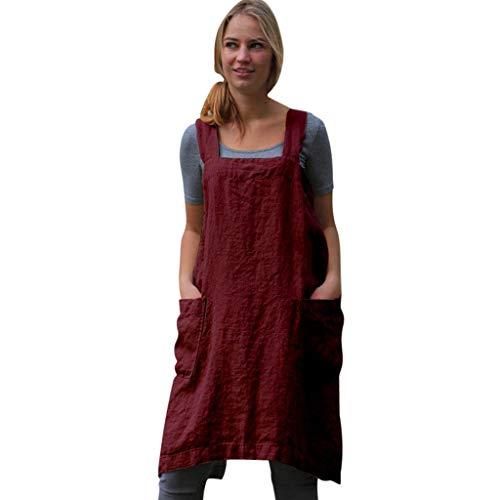 IZHH Damen Frauen Kleider Baumwolle Leinen Pinafore Square Cross Schürze Gartentasche Arbeit Pinafore Kleid Einfarbig Arbeitskleidung Kleid(Rot,XX-Large)
