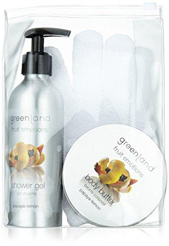 Green País Regalos Juego: Scrub Glove Gel de Ducha 200ml with Pump & Body Mantequilla 120ml, Papaya de Lemon