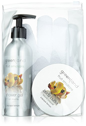 Greenland cadeauset: Scrub glove douchegel 200 ml met pomp & body boter 120 ml, papaya citroen