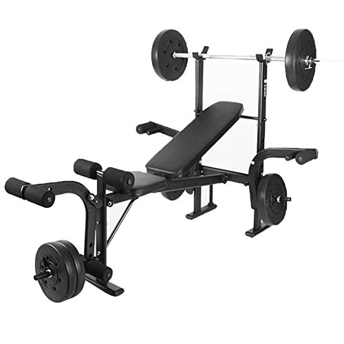 HSBAIS Banco Pesas Asiento Regulable, 4 Posición Plegable Banco de Fitness Multifunción Banco de Ejercicio Banco de Musculación (el Precio del Producto no Incluye Barra),Black_114x43x17cm