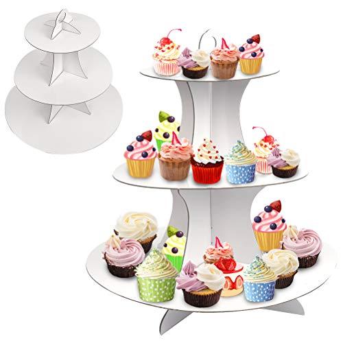 TIMESETL 2pezzi Alzata per dolci A 3 Livelli, Alzata per torta cupcake in cartone, Alzata per muffin Bianco per matrimoni, feste di compleanno, baby shower
