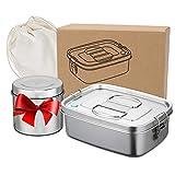 Premium Edelstahl Brotdose 1.2L Auslaufsicher, Lunch box with Trenner, Brotzeitbox Schule...