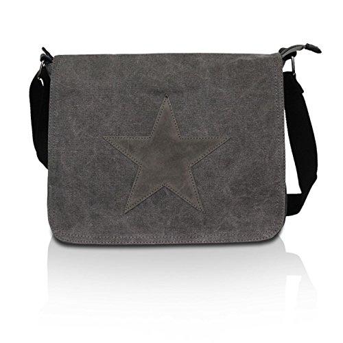 Glamexx24 Tasche Handtaschen Schultertasche Umhängetasche mit Stern Muster Tragetasche TE201620, B x H x T : 37 x 27x 5-11cm, Farbe: 23110 Dunkelgrau