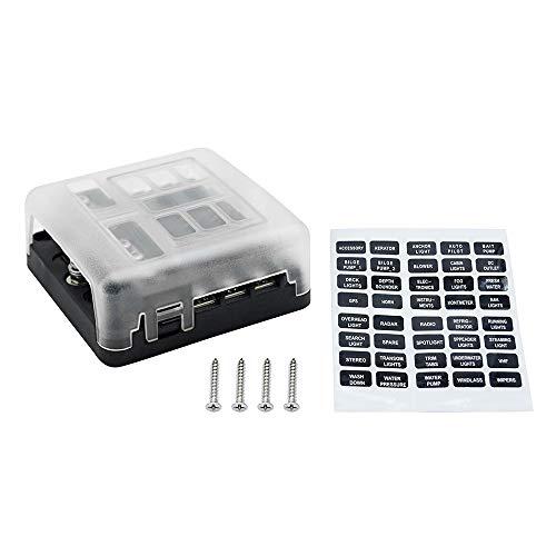 Fesjoy Caja portafusibles, Caja de portafusibles de Cuchilla Universal automática de 6 vías ATC/ATO Bloque de fusibles de 6 circuitos con Cubierta de PC Accesorios iluminados con LED para automóv