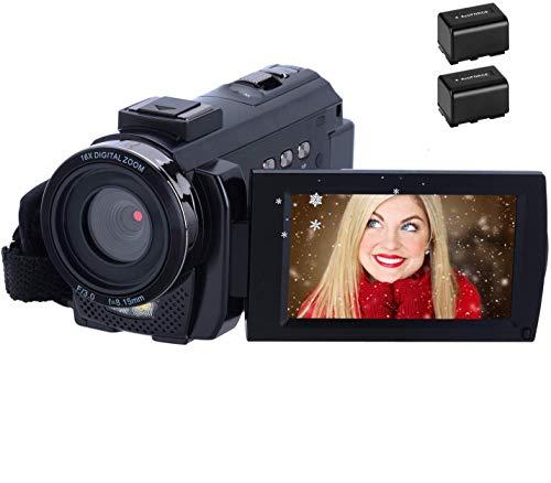 Videocamera 1080P 30FPS 24MP Videocamera HD Schermo da 3,0 Pollici Videocamera Digitale con Telecomando e 2 Batterie Ricaricabili per Vlogging, Regist