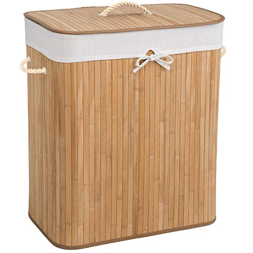 TecTake Robuster Bambus Wäschekorb faltbar mit Deckel und herausnehmbarem Wäschesack - Diverse Modelle - (100L Natural | Nr. 401834)