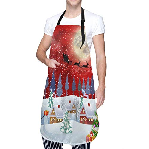 Adult Size Adjustable Bib Christmas Snowman Winter Red Christmas Tree Santa Clause Reindeer Apron Extra Long Ties with Tool Pockets for Gifts-Home Kitchen Baking