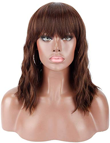 """Kalyss 14"""" Synthetic Brown Highlights Wigs with Hair Bangs Short Wavy Curly Wig for Women -Natural Looking and Heat Resistant Full Head Hair Replacement Wig for Daily Wear or Costume Wig"""