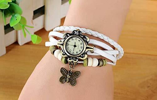 SANDIN Reloj de Pulsera de Cuero Hecho a Mano de la Vendimia Hoja de árbol Mujer Se?Ora Abrigo Alrededor Reloj de Cuarzo Pulsera Mariposa White