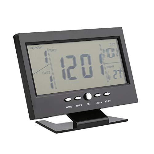 Lpinvin Sveglia Sveglia Meteo Monitor Calendario con temporizzatore Suono sensore di Temperatura Decor Comodino Orologio (Colore : Black, Size : One Size)