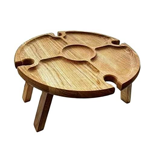 OocciShopp Picknicktisch, Holz Picknicktisch 2 In 1 Picknicktisch Kreativer zusammenklappbarer Strandweintisch für Gartenreisen Camping (quadratisches Bein Klapptyp)