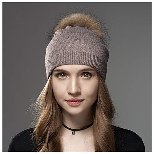 Winter muts voor dames, van wol, met pompon, pluizig, afneembaar, Kerstmis | Trend 2019, Le tour de tête 56-58cm, Koffie