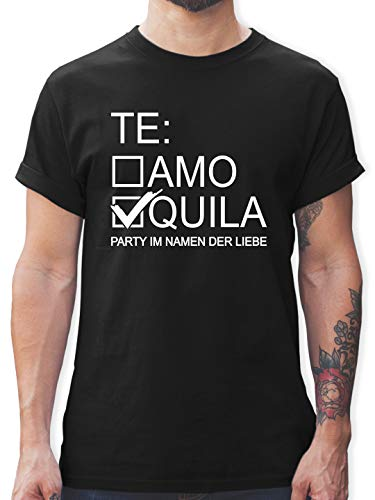 JGA Junggesellenabschied Männer - Tequila/Teamo - weiß - L - Schwarz - Saufen Tshirt Herren - L190 - Tshirt Herren und Männer T-Shirts