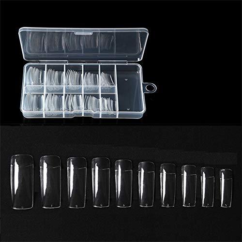 500pcs Français Acrylique Faux ongles artificiels d'Art Conseils Half couverture Conseils ongles Fake pour la conception Lady 10 avec sac (Clear)