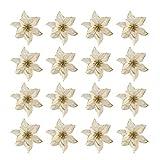 Toyvian 16 Piezas Flores de Navidad Flor de Pascua decoración de Adornos de árbol de Nav...