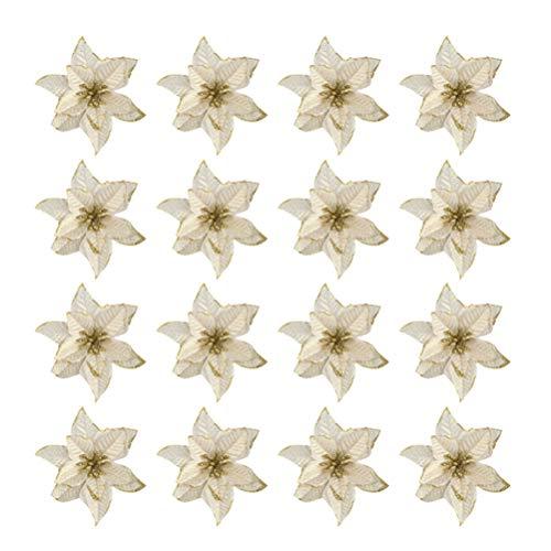 Toyvian 16 Piezas Flores de Navidad Flor de Pascua decoración de Adornos de árbol de Navidad (Dorado)