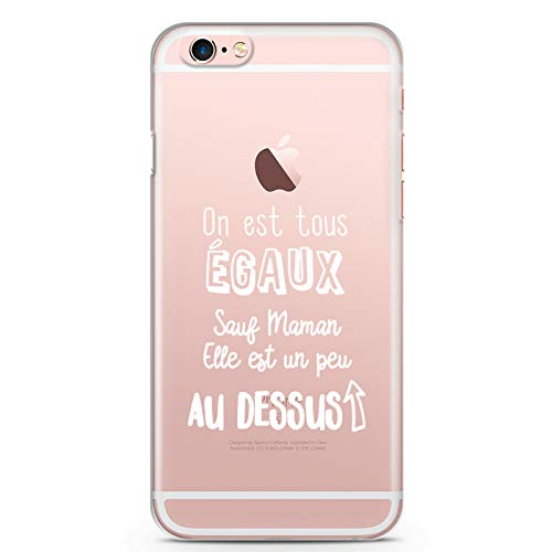 ZOKKO - Carcasa para iPhone 6 Plus/6S Plus On EST Todos Iguales Excepto Maman – Flexible Transparente Tinta Blanco