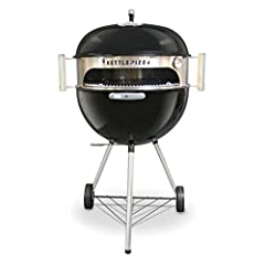 """Transforms 18.5"""" or 22.5"""" kettle grills into a pizza oven Heat remains stable because lid does not need to be removed to access food Made of 20 gauge, 304 grade stainless steel. Made in USA Kit includes stainless sleeve, handles, thermometer and alum..."""