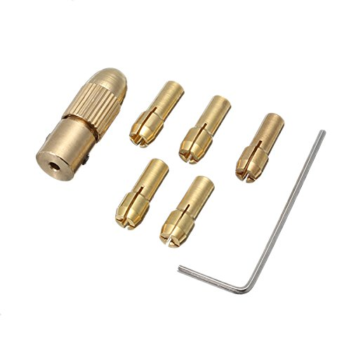 EsportsMJJ Drillpro 6 Stks Messing Boor Chuck Adapter Set 1-3 mm Boor Chuck Collets voor Rotary Tool