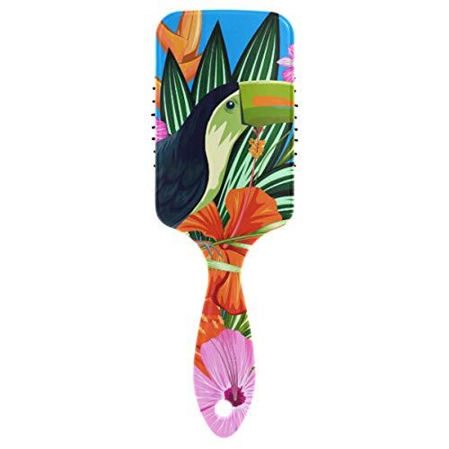 MONTOJ Massagekamm Tukan und bunte Blumen Kissen Haarbürste antistatische Bürsten Massage Gehirn Akupunkte zum Entspannen