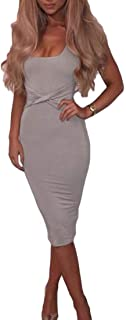 MU2M Womens Bodycon Sexy Square Neck Sleeveless Solid Color Ruched Midi Dress