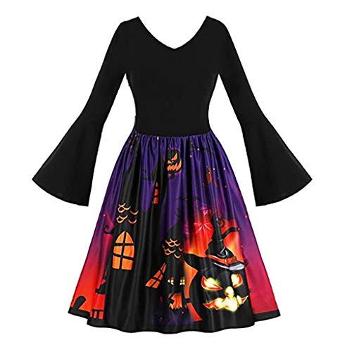 FRAUIT Costume di Halloween Donna Vestito Cerimonia Ragazza Elegante Taglie Forti Abiti Autunnali Elegantissimi Plus Size Oversize Vestiti Manica Lunga Invernale Abito Anni 50 Rockabilly