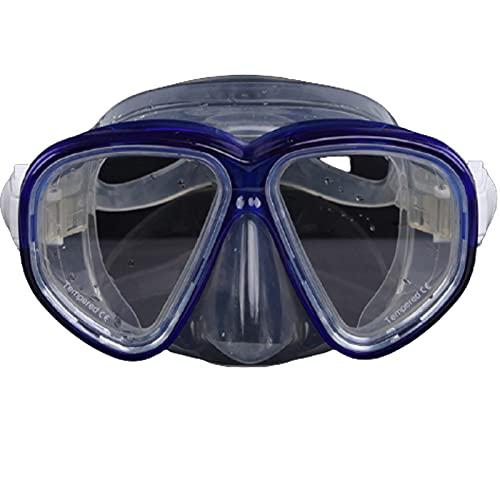 Máscara de Buceo Adulto Gafas de Buceo de Vidrio Templado, Campo Grande de visión Mascarilla de Snorkel Mascarilla Silicona Ajustable Espejo con Equipo de Wash Blue