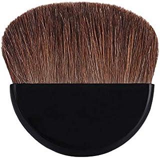超薄い扇型パウダーブラシ 柔らかい馬毛フィスブラシ 携帯便利メイクブラシ ミニチークブラシ (ブラック)