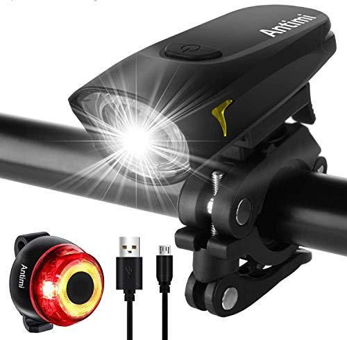 Antimi Sport Fahrradbeleuchtung LED Set, USB Wiederaufladbare Fahrradlicht Set 2 Leuchtmodi, wasserdichte Fahrradlampe Fahrrad Licht Set Superhelle für Nachtfahrer, Radfahren und Camping