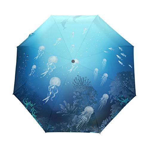Faltbarer Reise-Regenschirm, Qualle, Korallenwal, Seetang-Kunst, Sonnenschutz, winddicht, regendicht, tragbar, automatischer Sonnenschirm