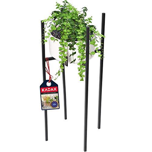 KADAX Blumenständer, wetterfester Pflanzenständer aus Stahl, Blumentopfhalter für Innen, Außen, Balkon, Terrasse, Blumenhalter, Deko, moderner Blumentopfständer, schwarz (33 x 33 x 67 cm)