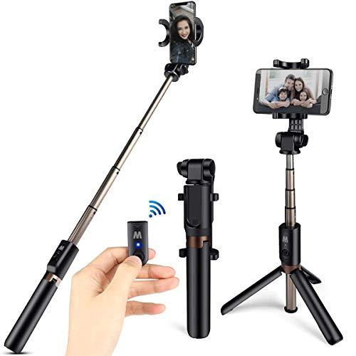 HOMVILLA Bluetooth Selfie Stick con Sontrol Remoto, Palo Selfie Trípode, 3 en 1 Mini Bolsillo Extensible Monopod Inalámbrico Selfie Stick Trípodes, Palo Selfie Gopro Trípodes iPhone de Mesa y Viaje