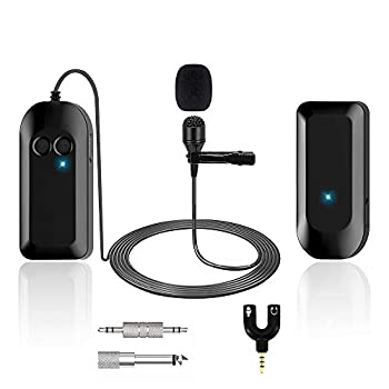 Wireless Lavalier Lapel Microphone Professional UHF Omnidirectional Recording Mic with Clip-on Beltpack Transmitter and Receiver for Live Performance for ios Android Phone Ipad Recording