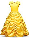 NNJXD Princesse Belle Robe Filles Halloween Cosplay Fancy Dress up Robe Carnaval Hors Épaule Taille (150) 7-8 Ans Jaune