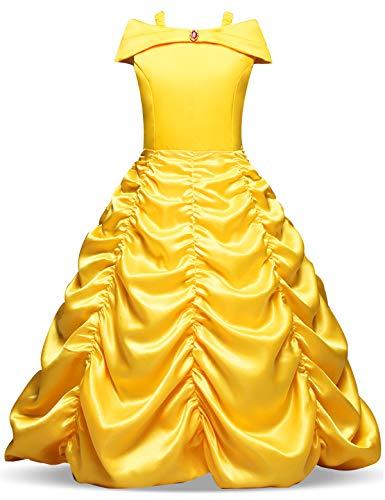 NNJXD Niñas Vestido Largo De Fiesta De Cosplay Disfraz De Carnaval Para Princesa Tamaño (140) 6-7 años Amarillo
