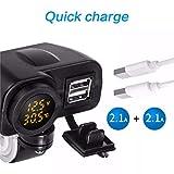 Sixcup 2.1A LED 12V Universal Wasserdichtes Motorrad USB Ladegerät Schnellladegerät + Digital Voltmeter + Thermometer,Steckdose Adapter Motorrad Ladegerät (Schwarz)