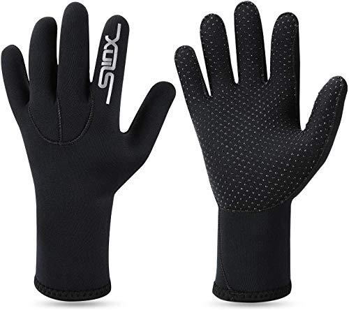 QKURT 3mm Neopren-Neoprenanzughandschuhe - warme Tauchhandschuhe, Erwachsene Fünf-Finger-Tauchhandschuhe zum Tauchen, Surfen, Kajakfahren, Schnorcheln, Segeln, Bootfahren