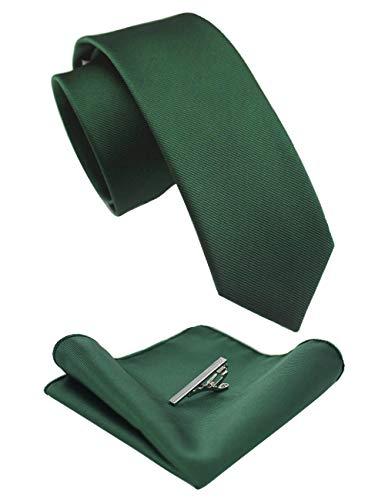 "JEMYGINS 2.4"" Green Skinny Tie and Pocket Square with Tie Clip Silk slim Necktie Sets for Men"