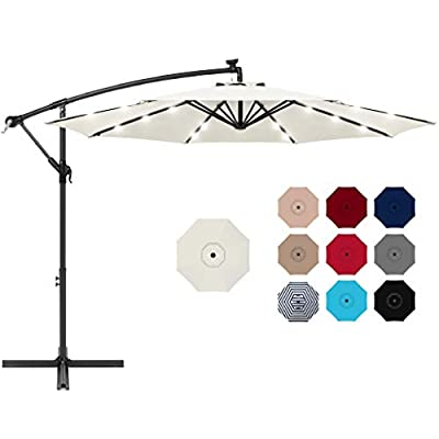 Best Choice Products 10ft Solar LED Offset Hanging Market Patio Umbrella for Backyard, Poolside, Lawn and Garden w/Easy Tilt Adjustment, Polyester Shade, 8 Ribs - Cream