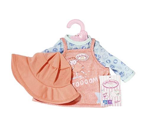 Zapf Creation 706251 Baby Annabell Little Babyoutfit 36 cm - rosa Puppenkleid mit integriertem Langarmshirt und Puppenhut