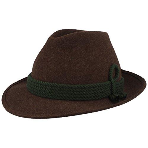Hut Breiter Herren Trachten-Hut | Filz-Hut | Herren-Hut – Handgemacht aus 100% Wolle in schmaler Form mit grüner 5-Fach Kordel-Garnitur – Bogart – Braun
