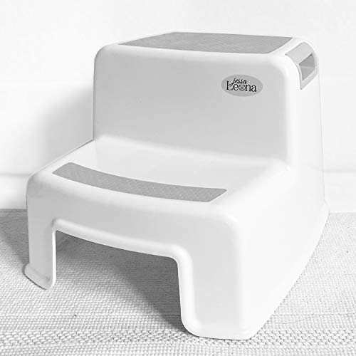 Dual Height 2 Step Stool for Kids | Slip Resistant Soft Grip Toddler#039s Stool for Potty Training and Use in The Bathroom or Kitchen | BPA Free for Comfort and Safety Pack of 1 Gray White