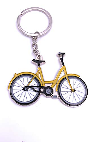 Onlineworld2013 Bicicleta Rueda Holanda en Llavero Amarillo Llavero Metal Plateado