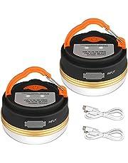Yizhet Linterna Camping LED, Recargable Camping Lámpara & Banco de Energía 3 Modos Lámpara de Campamento con Base Magnética Impermeable Portátil Luz de Emergencia para Pesca,Excursionismo (2 Piezas)