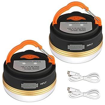 Yizhet Lanterne de Camping [2 Pack] lumières de Tente Rechargeable Batterie, Résistant à l'eau, Base Magnétique, 3 Modes d'Éclairage avec Câble USB pour Camping,Travaux,Chasse,Tente, Pêche,Randonnée