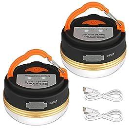 Yizhet Lanterne de Camping [2 Pack] lumières de Tente Rechargeable Batterie, Résistant à l'eau, Base Magnétique, 3 Modes…
