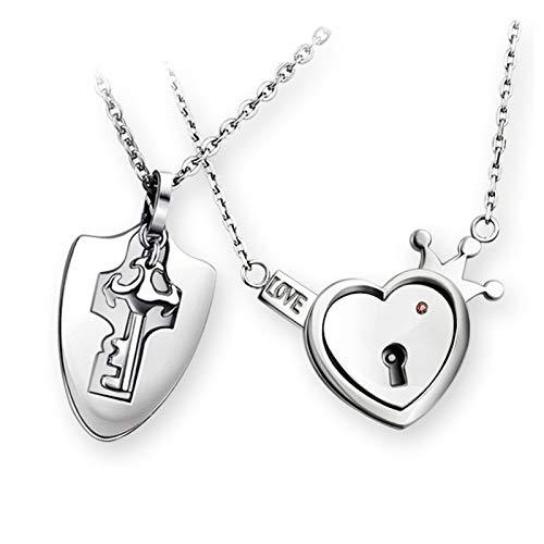 Lock and key pendant necklace, cute pair of titanium necklace, lock and key pendant necklace, cute couple titanium necklace, men and women couple gifts birthday wedding anniversary.